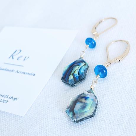 アバロンシェルクリスタル×ネオンブルーアパタイトのフレンチフックピアス(イヤリング)K14GF