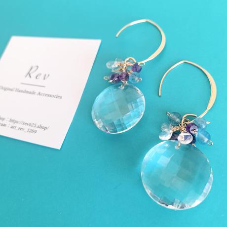 大粒水晶×小粒天然石のマーキスフックピアス(イヤリング)K14GF
