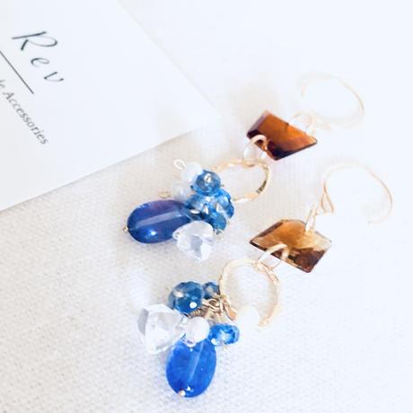 タンザナイト×三角水晶×ブランデーシトリンのピアス(イヤリング)K14GF