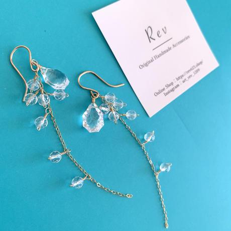 滴る水晶のロングピアス(イヤリング)K14GF