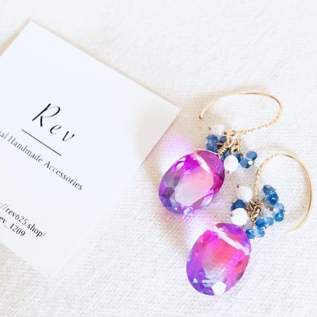 大粒 フューシャピンク&ブルーのバイカラークォーツ×小粒カイヤナイトのピアス(イヤリング)K14GF