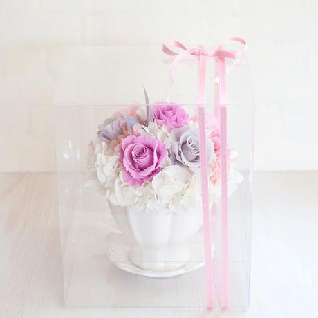 【送料無料】プリザーブドフラワーアレンジメント ピンク&グレー