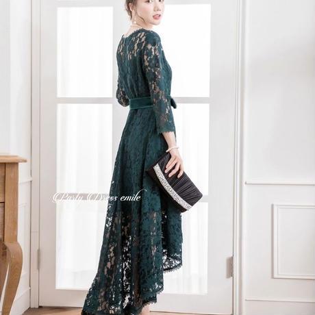 即日配送  送料無料 パーティードレス ドレス ワンピース 袖有り ミモレ丈 お呼ばれドレス 結婚式 大きいサイズ お呼ばれ emd0059 yyimu