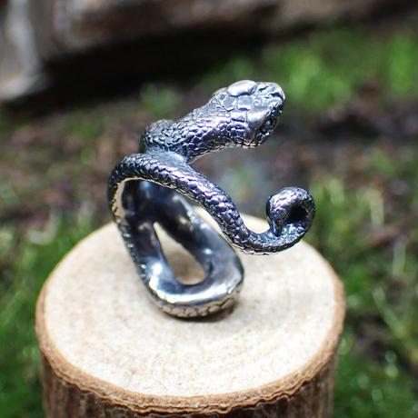 巻き付くシシバナヘビイヤーカフ(black)