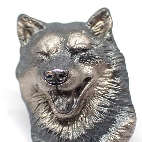 笑顔の柴犬ブローチ(black)