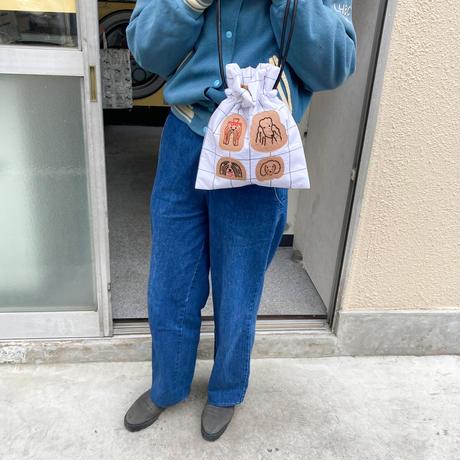 【受注商品】 puppies2 きんちゃくバッグ