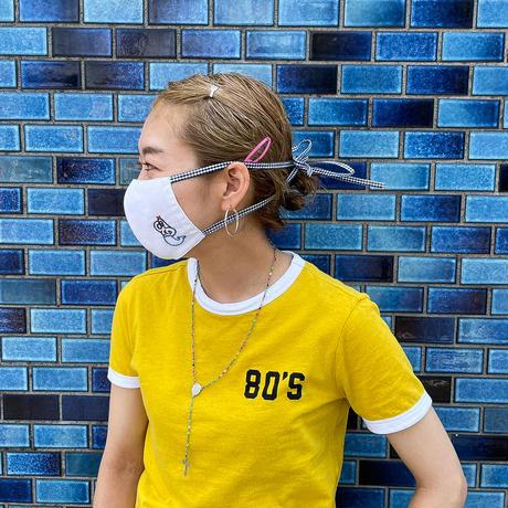 リボンひもマスク05(生地:ブラック リボンひも:ブラック)