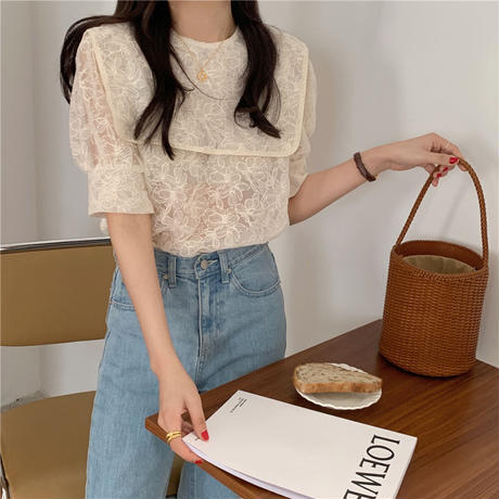 【即納あり】【shi011】セーラーカラーシアー刺繍ブラウス