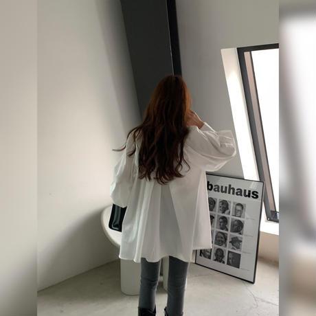 【shi014】バンドカラーギャザーフレアシャツ