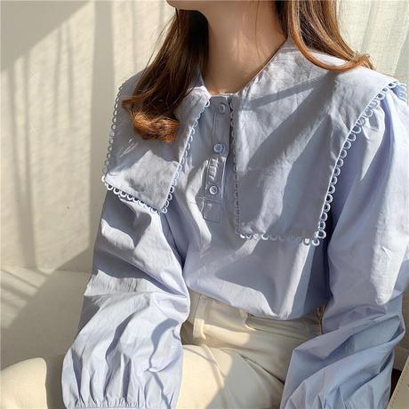【即納あり】【shi015】レースステッチスクエアセーラーカラーシャツ(3カラー)