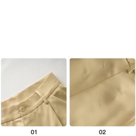 【即納あり】【pt018】ハイライズバックワンステッチストレートパンツ(2カラー)