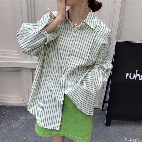 【即納あり】【shi018】グリーンストライプシャツ