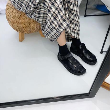 【sho027】レトロケージフラットサンダル(2カラー)