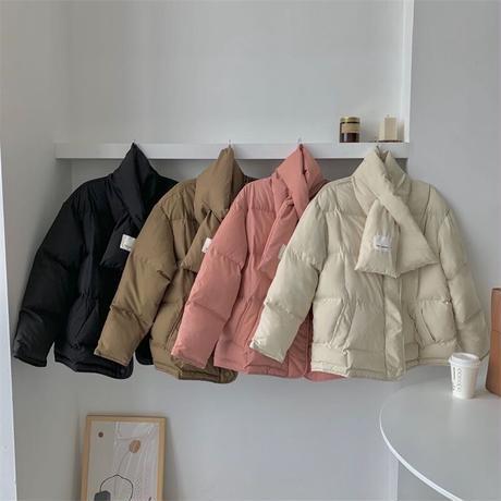 【jk013】スヌード付き中綿ダウンジャケット(3カラー)