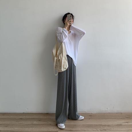 【即納あり】【pt010】ハイウエストナロープリーツストレートパンツ(6カラー)