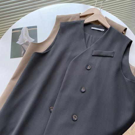 【即納あり】【R3JK01】ルーズノーカラーベストジャケット(2カラー)