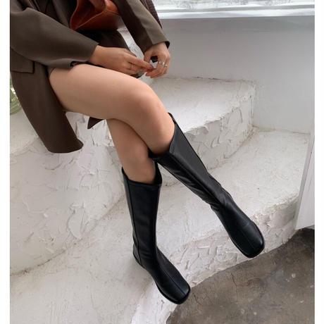 【即納あり】【bo006】スクエアトゥバックジッパーロングブーツ(2カラー)