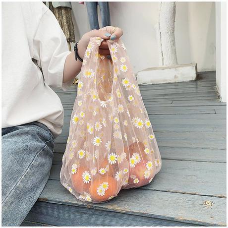 【即納あり】【bg016】シアーメッシュデイジートートバッグ(3カラー)
