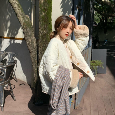 【即納あり】【jk004】リバーシブルキルティングボアジャケット(3カラー)