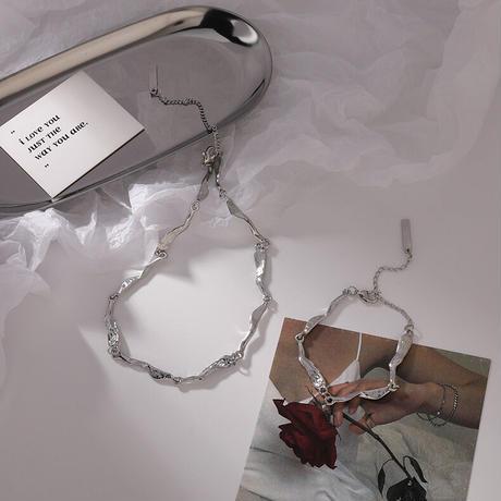【nc002】ウェーブチェーンネックレス&ブレスレットset
