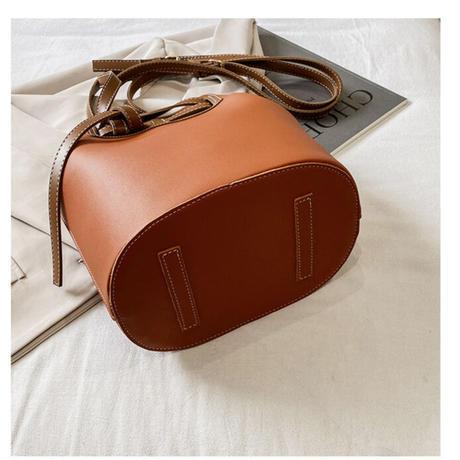 【R3BG03】レザーコントラストバケットバッグ(4カラー)