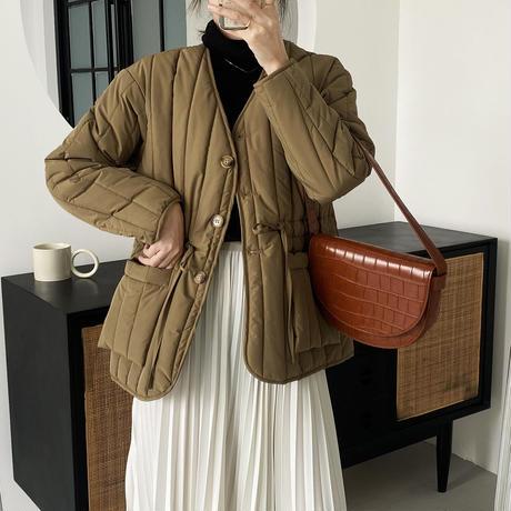 【jk010】Vネックストライプ中綿キルティングジャケット(3カラー)