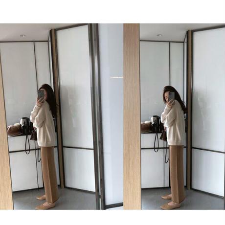 【pt014】ヘムメロウストレートニットパンツ(2カラー)