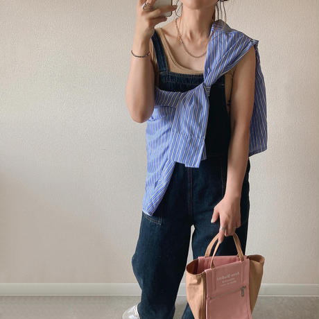 【即納あり】【shi016】オーバーサイズストライプポケットシャツ