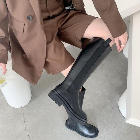 【bo005】フェイクレザーロングチェルシーブーツ
