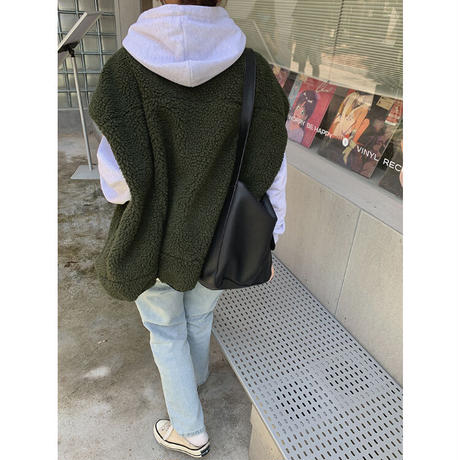 【R3JK02】オーバーサイズボアベストジャケット(2カラー)