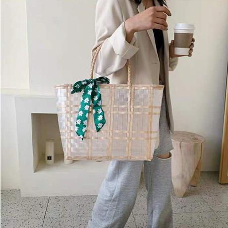 【即納あり】【bg019】ストローデザインシアーテープバッグ(2サイズ・5カラー)