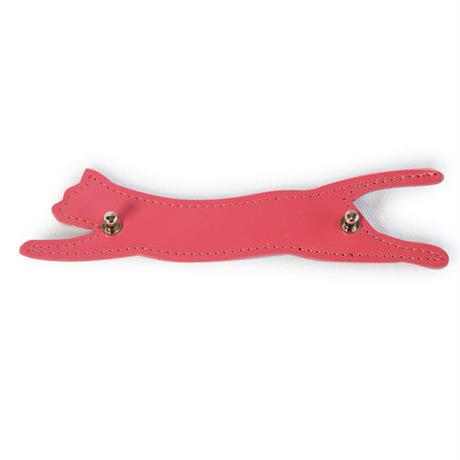 マスク紐による耳痛防止 猫型マスクレザーバンドにゃー(ピンク)マスク紐ホルダー