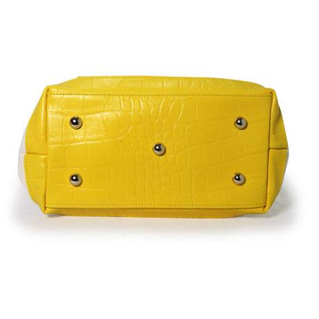 藍染×レザー帆布トートバッグ クロコ型押しレザー イエロー
