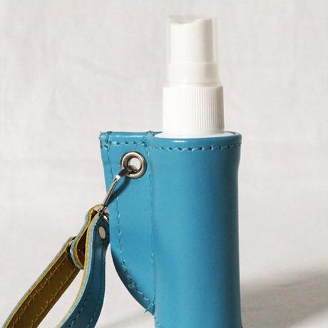 マスクケース&携帯スプレーボトルカバー ギフトセット レザー 抗菌仕様 アクアブルー