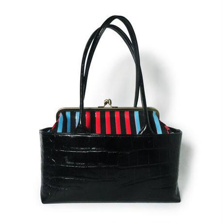 レザーがま口バッグ クロコ型押しレザーブラック ストライプ帯 4way 帯リメイクバッグ 和装バッグ