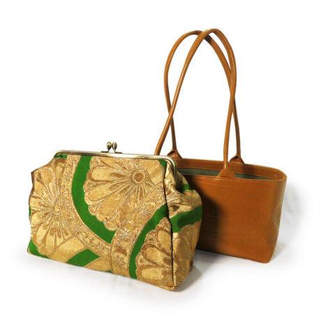 レザーがま口バッグ 菊文様帯 クロコ型押しレザーキャメル 4way 帯リメイクバッグ 和装バッグ