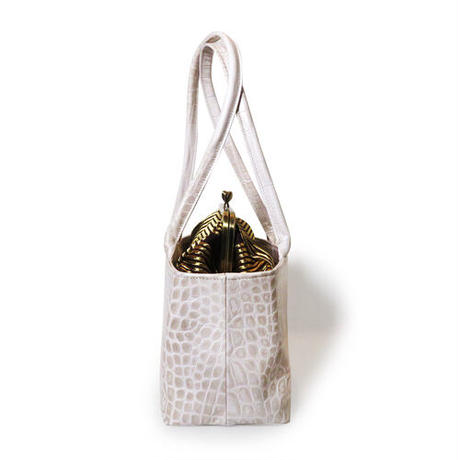 レザーがま口バッグ 亀甲文様帯 クロコ型押しレザーバニラ 4way 帯リメイクバッグ 和装バッグ