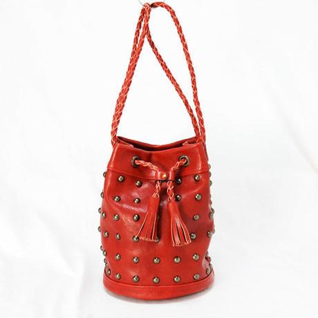 スタッズレザー巾着バッグ 巾着ショルダーバッグ 赤