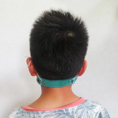 マスク紐による耳痛防止 マスクレザーバンド子供用(グリーン)
