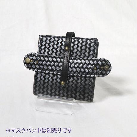 マスクケース 抗菌ビニール使用 あじろ型押しレザー【送料無料】