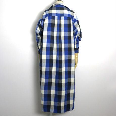 BLUEBIRD BOULEVARD Cotton  Long Shirt Dress/ブルーバード ブルバード ブロックチェックシャツドレス