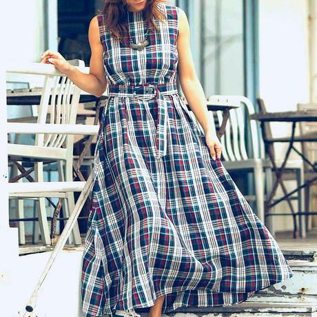 BLUEBIRD BOULEVARD  Linen Madras Maxi Dress  /ブルーバード ブルバード  マドラスチェックマキシドレス BEIGE , NAVY&WHITE