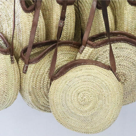 Moroccan Palm Hand Woven Basket Cross-Body Bag   /モロッコ製 ハンドメイド ショルダーバッグ