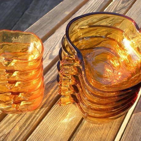 ヴィンテージ KIG INDONESIA Amber Glass Apple Shaped Bowl 大5個セット