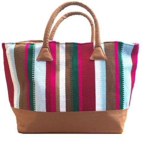 アフガニスタンの手織り布 オリジナル柄マルチカラートートバッグ