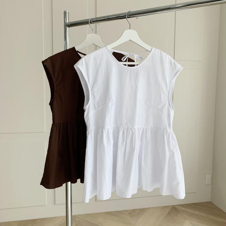 flare ribbon nosleeve blouse