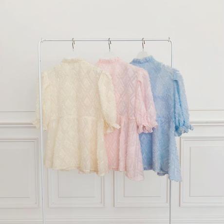 fringe frill gather blouse