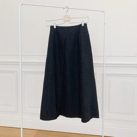 wrap denim skirt