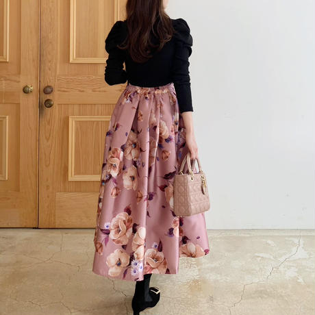 MADE' flower tuck skirt / pink