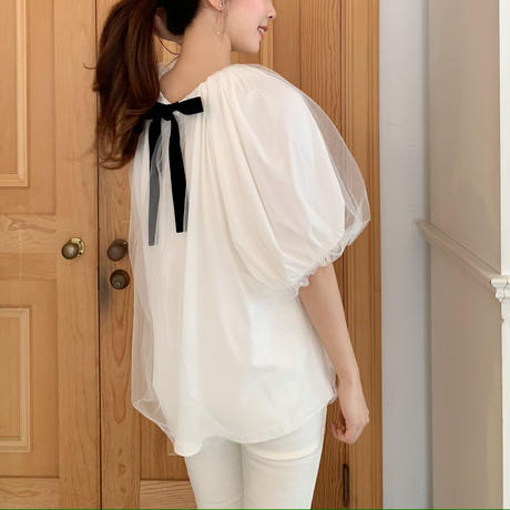 tulle ribbon blouse